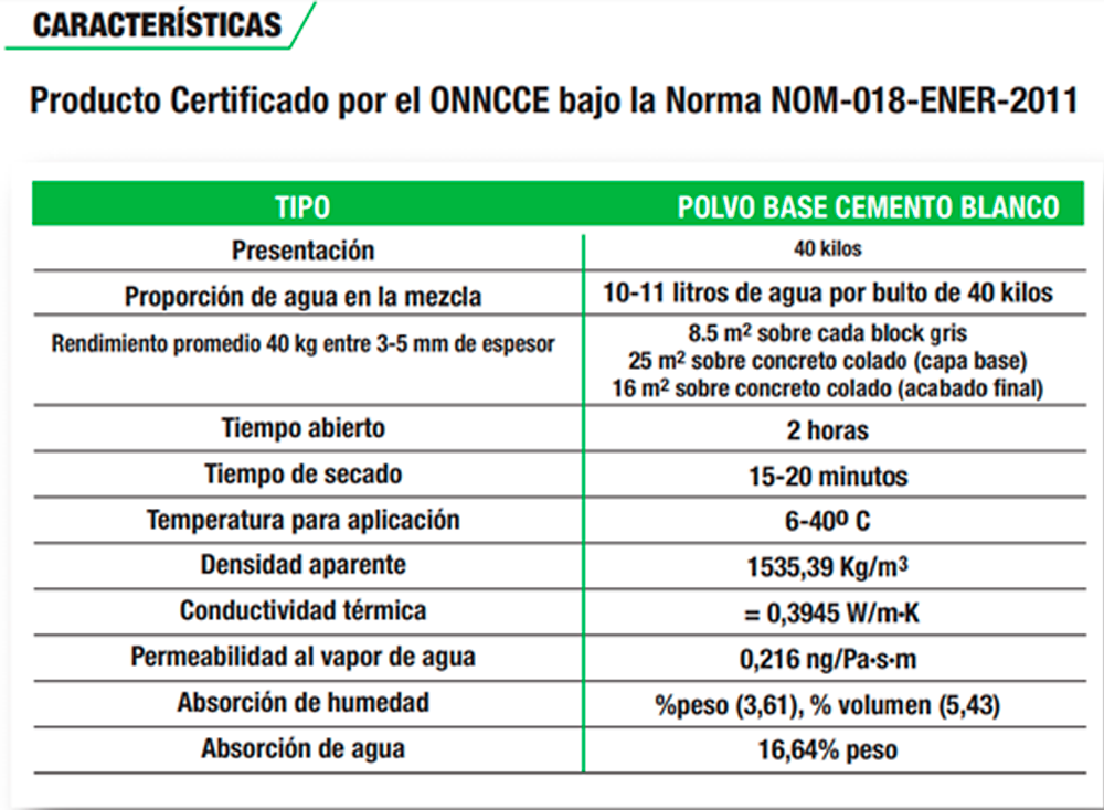 Cemex Multipast especificaciones