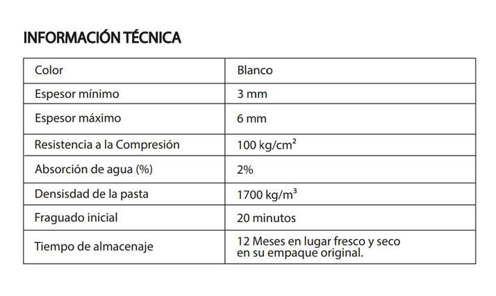 Especificaciones de Stucco Uniblock
