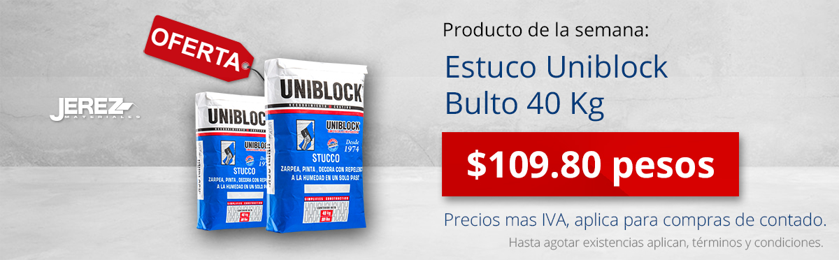 Promocion de la semana Estuco Uniblock Jerez
